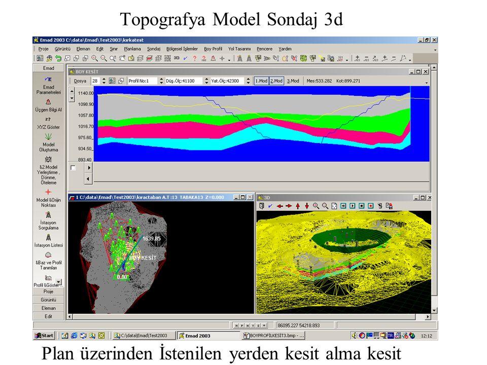 Topografya Model Sondaj 3d Plan üzerinden İstenilen yerden kesit alma kesit