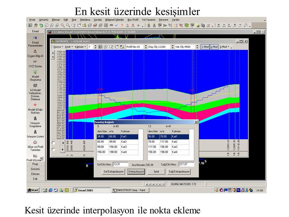 En kesit üzerinde kesişimler Kesit üzerinde interpolasyon ile nokta ekleme