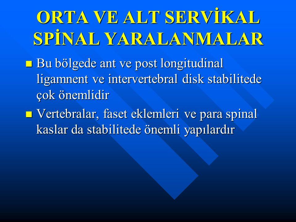 ORTA VE ALT SERVİKAL SPİNAL YARALANMALAR Bu bölgede ant ve post longitudinal ligamnent ve intervertebral disk stabilitede çok önemlidir Bu bölgede ant ve post longitudinal ligamnent ve intervertebral disk stabilitede çok önemlidir Vertebralar, faset eklemleri ve para spinal kaslar da stabilitede önemli yapılardır Vertebralar, faset eklemleri ve para spinal kaslar da stabilitede önemli yapılardır