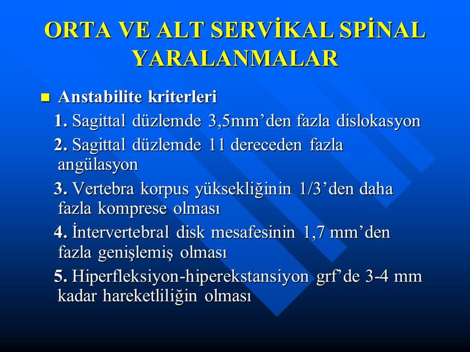 ORTA VE ALT SERVİKAL SPİNAL YARALANMALAR Anstabilite kriterleri Anstabilite kriterleri 1. Sagittal düzlemde 3,5mm'den fazla dislokasyon 1. Sagittal dü