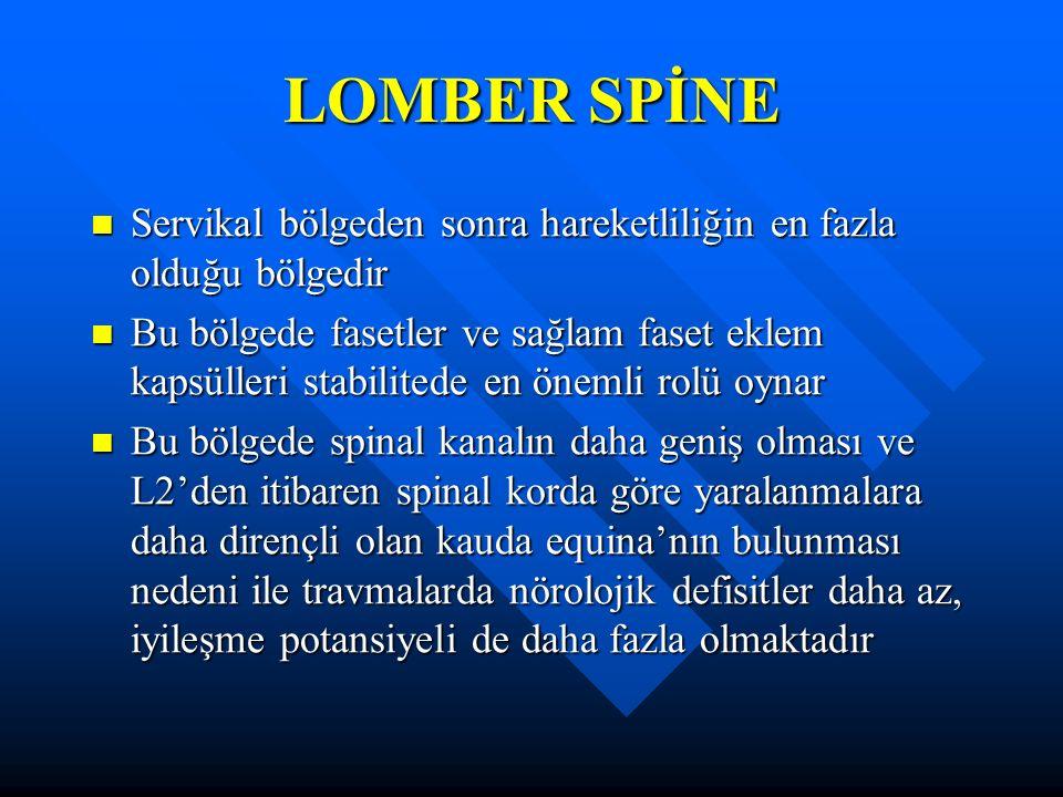 LOMBER SPİNE Servikal bölgeden sonra hareketliliğin en fazla olduğu bölgedir Servikal bölgeden sonra hareketliliğin en fazla olduğu bölgedir Bu bölgede fasetler ve sağlam faset eklem kapsülleri stabilitede en önemli rolü oynar Bu bölgede fasetler ve sağlam faset eklem kapsülleri stabilitede en önemli rolü oynar Bu bölgede spinal kanalın daha geniş olması ve L2'den itibaren spinal korda göre yaralanmalara daha dirençli olan kauda equina'nın bulunması nedeni ile travmalarda nörolojik defisitler daha az, iyileşme potansiyeli de daha fazla olmaktadır Bu bölgede spinal kanalın daha geniş olması ve L2'den itibaren spinal korda göre yaralanmalara daha dirençli olan kauda equina'nın bulunması nedeni ile travmalarda nörolojik defisitler daha az, iyileşme potansiyeli de daha fazla olmaktadır
