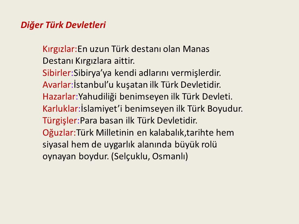 Diğer Türk Devletleri Kırgızlar:En uzun Türk destanı olan Manas Destanı Kırgızlara aittir. Sibirler:Sibirya'ya kendi adlarını vermişlerdir. Avarlar:İs