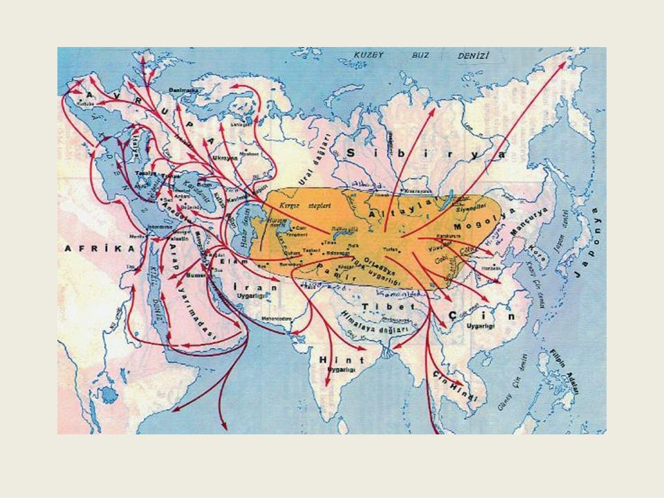 Türklerin Anayurdu ve Göçler Türklerin ilk ana yurdu Orta Asya'da dır.Orta Asya; Asya Kıta'sının ortasında yer alan, doğudan Kingan Dağları, kuzeyden Sibirya, batıdan Hazar Denizi, güneyden Hindikuş ve Karanlık dağları ile çevrili olan bölgedir.