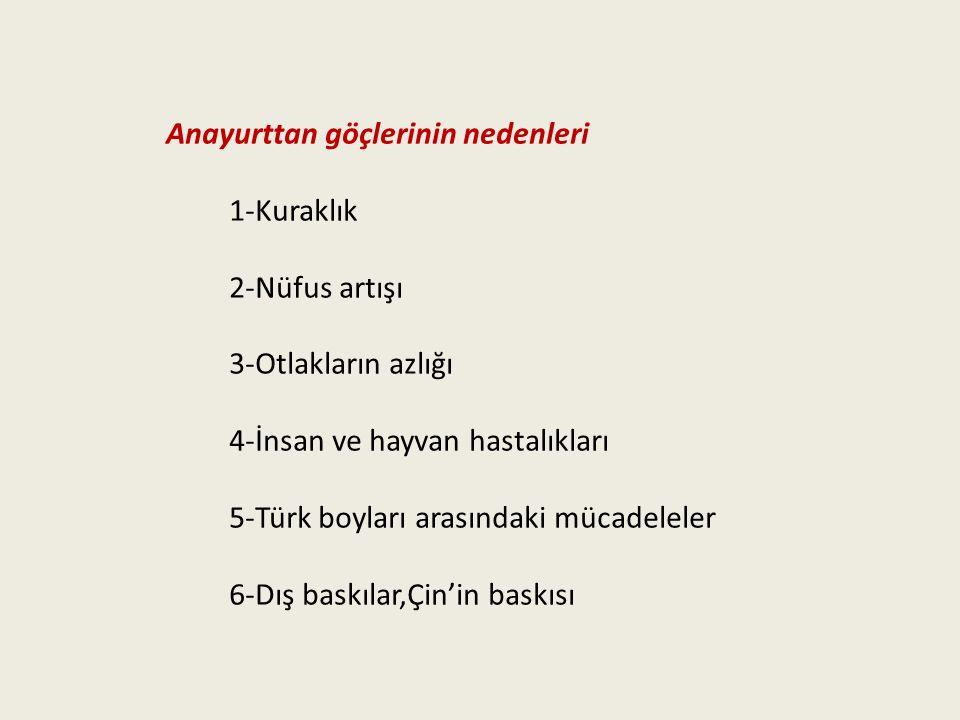 Anayurttan göçlerinin nedenleri 1-Kuraklık 2-Nüfus artışı 3-Otlakların azlığı 4-İnsan ve hayvan hastalıkları 5-Türk boyları arasındaki mücadeleler 6-D