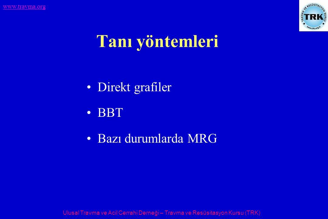 Ulusal Travma ve Acil Cerrahi Derneği – Travma ve Resüsitasyon Kursu (TRK) www.travma.org Tanı yöntemleri Direkt grafiler BBT Bazı durumlarda MRG