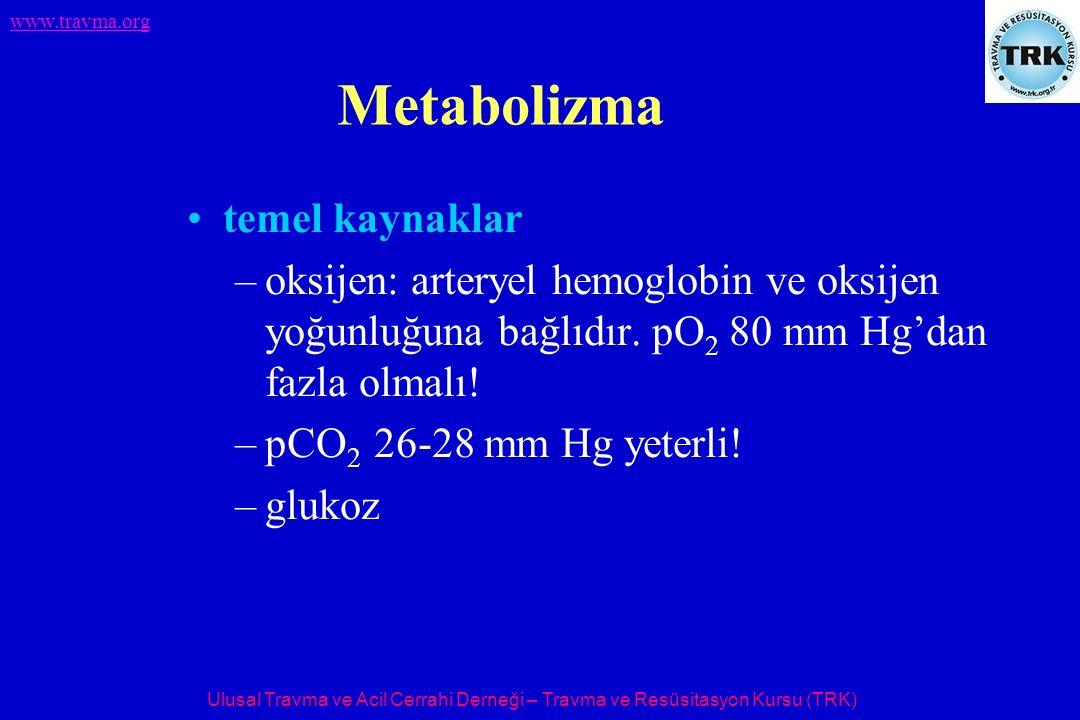 Ulusal Travma ve Acil Cerrahi Derneği – Travma ve Resüsitasyon Kursu (TRK) www.travma.org Metabolizma temel kaynaklar –oksijen: arteryel hemoglobin ve