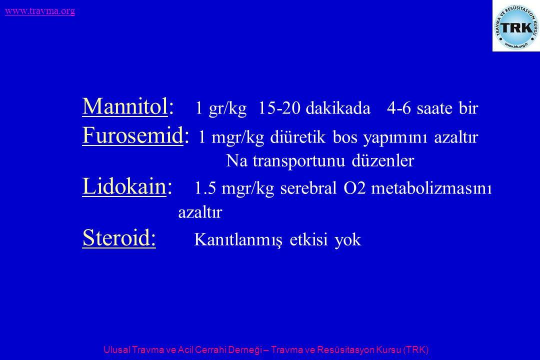Ulusal Travma ve Acil Cerrahi Derneği – Travma ve Resüsitasyon Kursu (TRK) www.travma.org Mannitol: 1 gr/kg 15-20 dakikada 4-6 saate bir Furosemid: 1