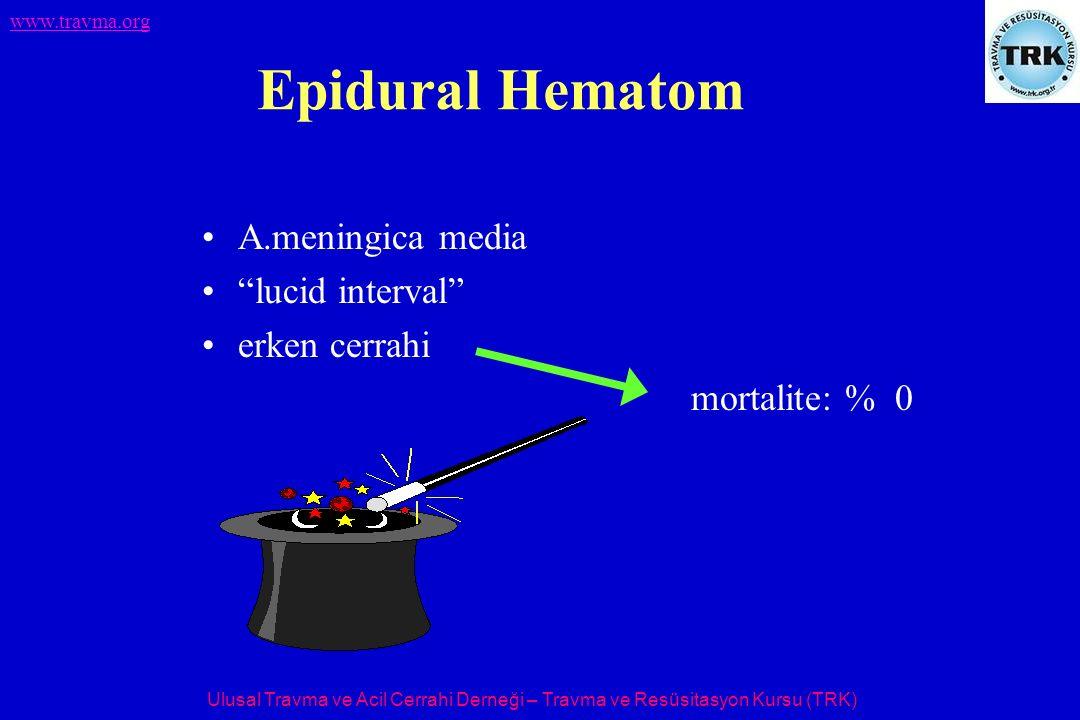 """Ulusal Travma ve Acil Cerrahi Derneği – Travma ve Resüsitasyon Kursu (TRK) www.travma.org Epidural Hematom A.meningica media """"lucid interval"""" erken ce"""