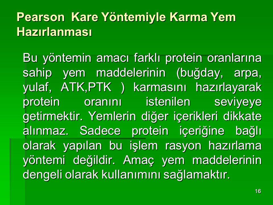Pearson Kare Yöntemiyle Karma Yem Hazırlanması Bu yöntemin amacı farklı protein oranlarına sahip yem maddelerinin (buğday, arpa, yulaf, ATK,PTK ) karm