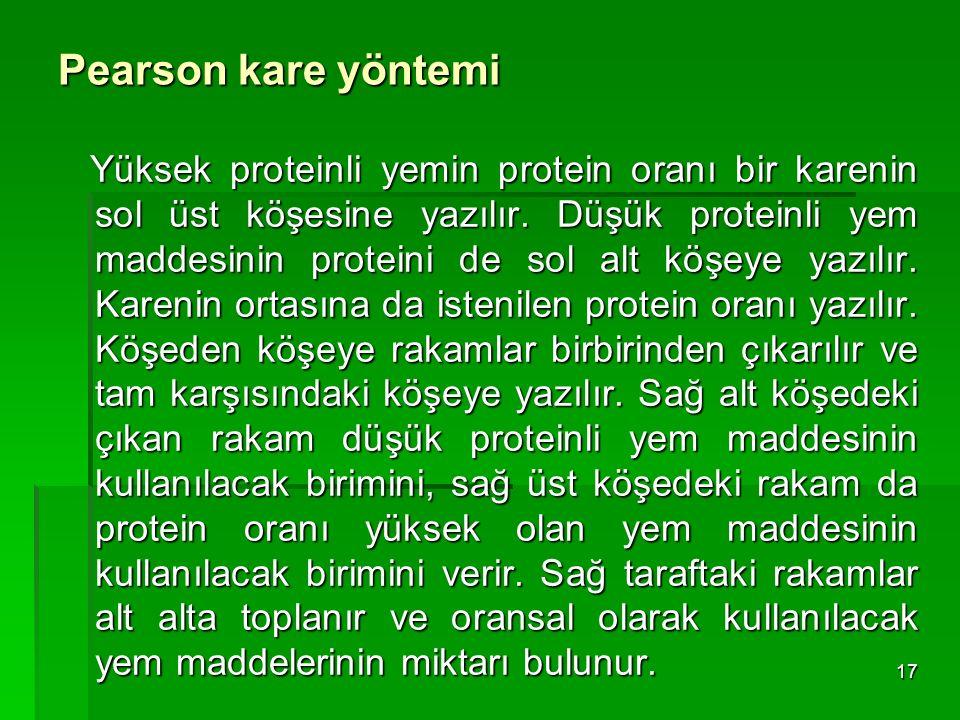 Pearson kare yöntemi Yüksek proteinli yemin protein oranı bir karenin sol üst köşesine yazılır. Düşük proteinli yem maddesinin proteini de sol alt köş