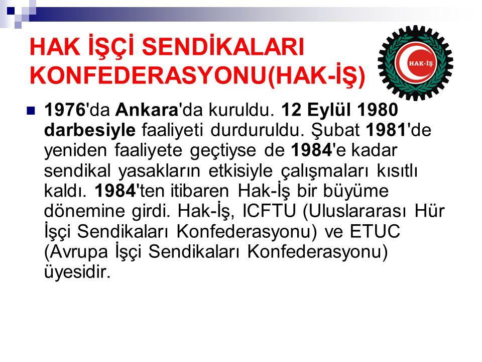 HAK İŞÇİ SENDİKALARI KONFEDERASYONU(HAK-İŞ) 1976'da Ankara'da kuruldu. 12 Eylül 1980 darbesiyle faaliyeti durduruldu. Şubat 1981'de yeniden faaliyete
