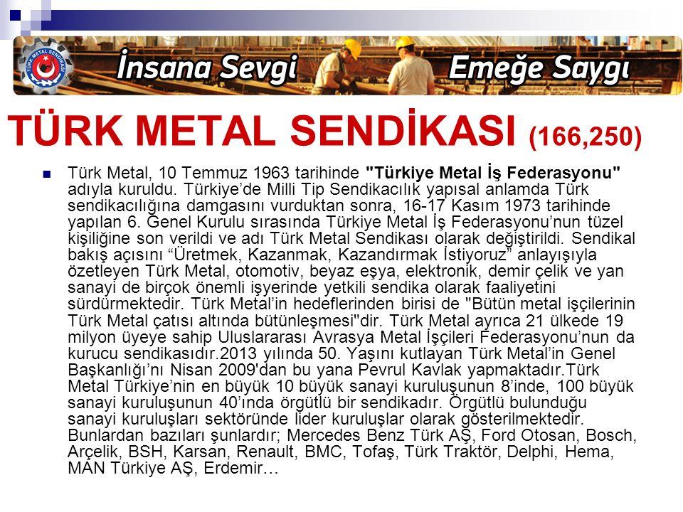 TÜRK METAL SENDİKASI (166,250) Türk Metal, 10 Temmuz 1963 tarihinde