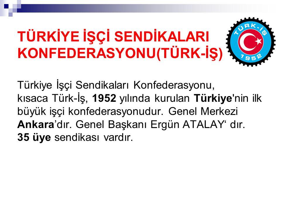 TÜRKİYE İŞÇİ SENDİKALARI KONFEDERASYONU(TÜRK-İŞ) Türkiye İşçi Sendikaları Konfederasyonu, kısaca Türk-İş, 1952 yılında kurulan Türkiye'nin ilk büyük i