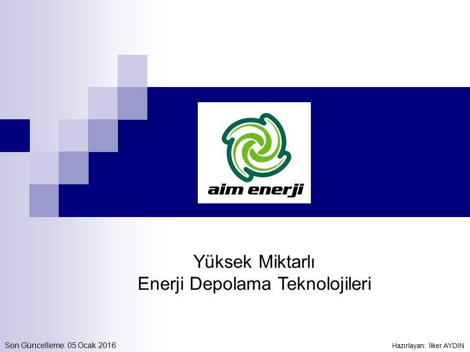 Grid Scale ESS Teknolojileri Lityum-İyon (LiFePO 4, LiCoO 2, LiMnO 2, LiS) Vanadyum Redox Battery (VRB) Demir-Krom Flow Battery (ICB) Çinko Bromin (ZnBr) Sodyum Sülfür (NaS) Sodyum Nikel Klorid (NaNiCl) Termal Enerji Depolama Sıkıştırılmış Gaz İle Enerji Depolama (CAES) Rezervuara Su Pompalama