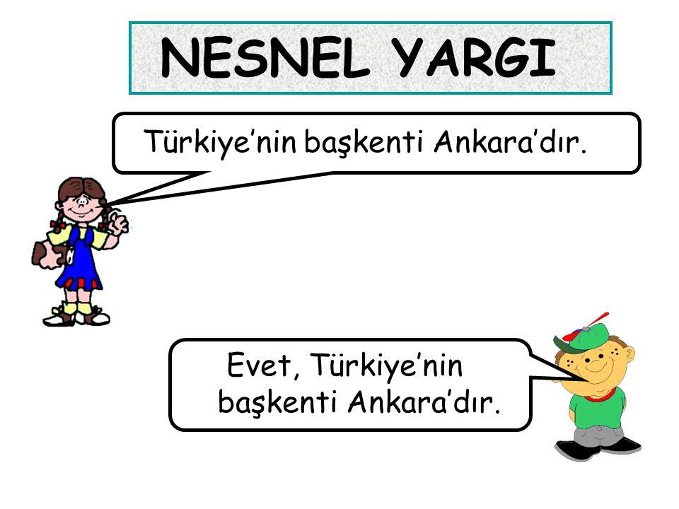 NESNEL YARGI Türkiye'nin başkenti Ankara'dır. Evet, Türkiye'nin başkenti Ankara'dır.