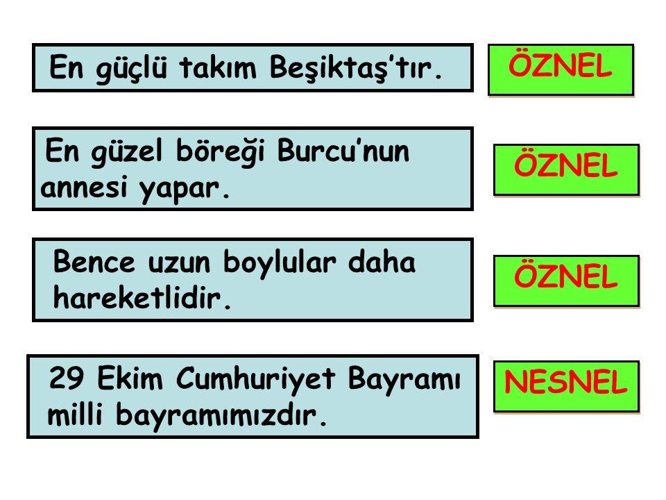 En güçlü takım Beşiktaş'tır. En güzel böreği Burcu'nun annesi yapar. Bence uzun boylular daha hareketlidir. 29 Ekim Cumhuriyet Bayramı milli bayramımı