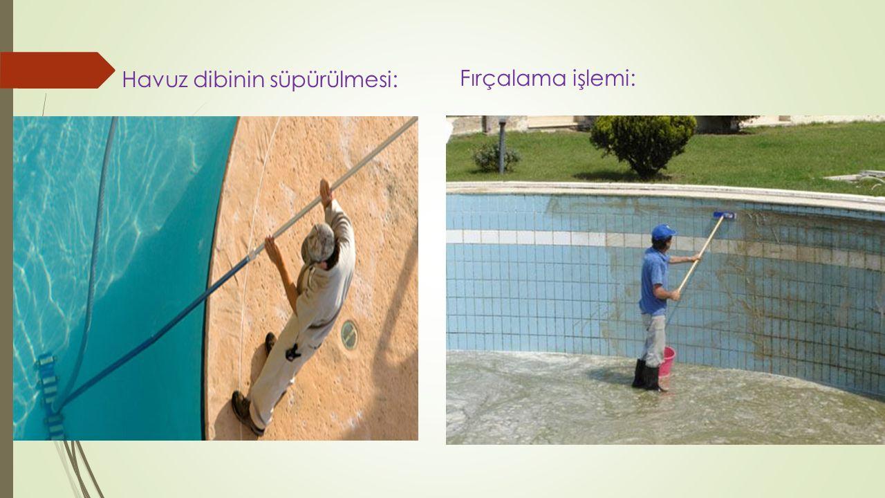 Havuz dibinin süpürülmesi: Fırçalama işlemi:
