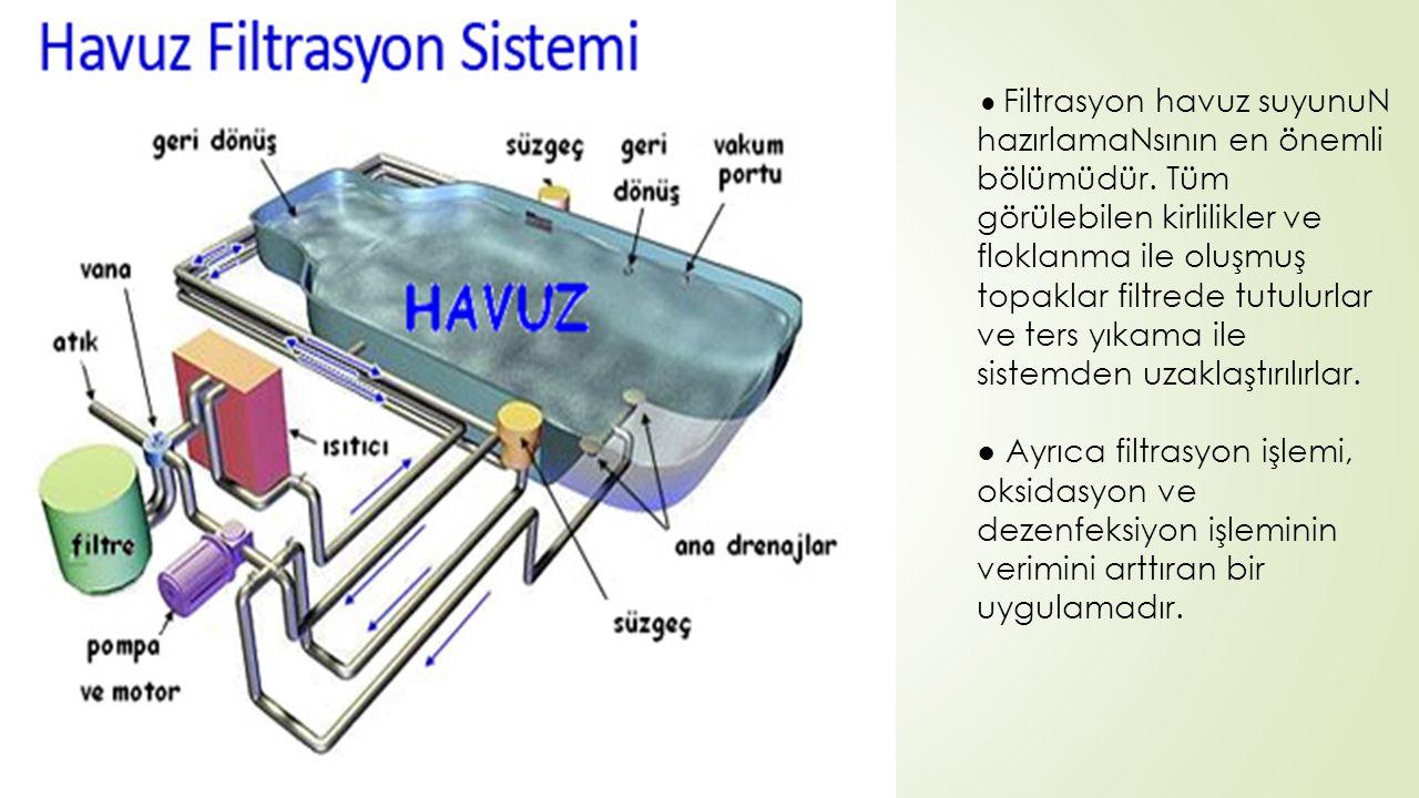 ● Filtrasyon havuz suyunuN hazırlamaNsının en önemli bölümüdür. Tüm görülebilen kirlilikler ve floklanma ile oluşmuş topaklar filtrede tutulurlar ve t
