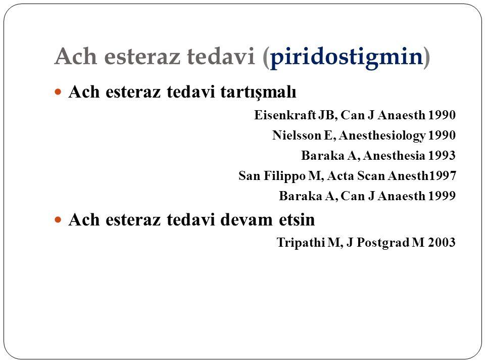 Ach esteraz tedavi (piridostigmin) Ach esteraz tedavi tartışmalı Eisenkraft JB, Can J Anaesth 1990 Nielsson E, Anesthesiology 1990 Baraka A, Anesthesi
