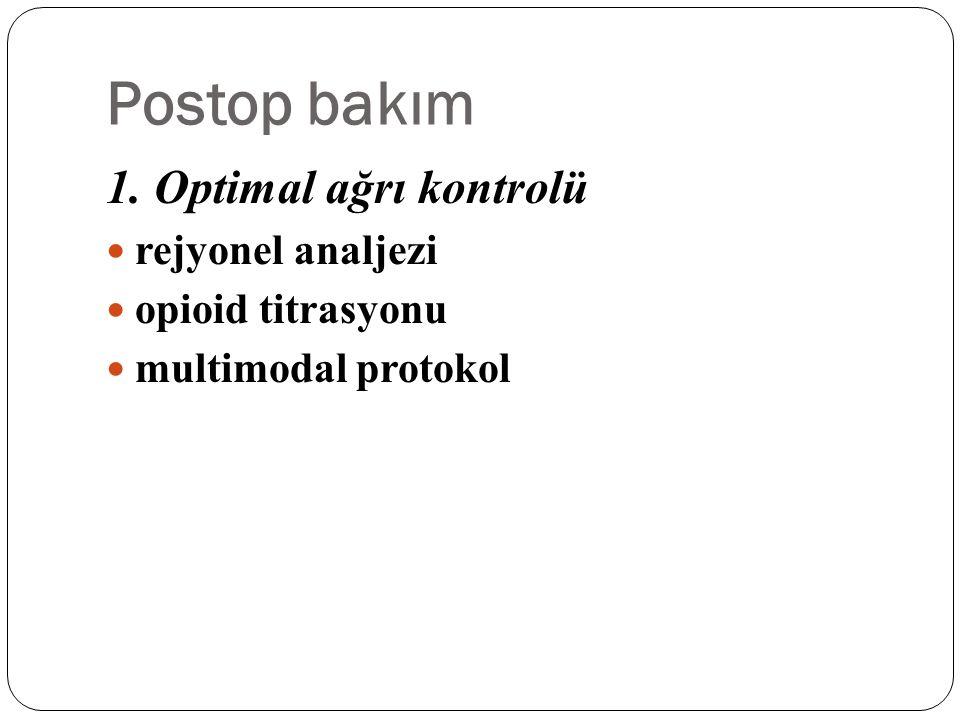 Postop bakım 1. Optimal ağrı kontrolü rejyonel analjezi opioid titrasyonu multimodal protokol