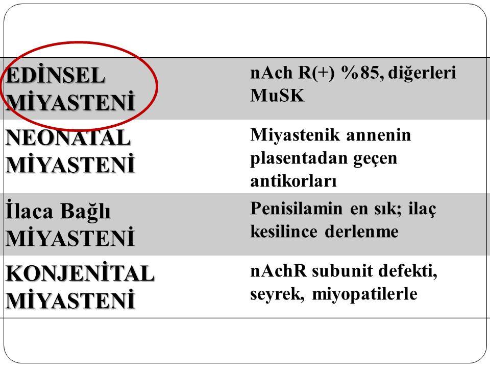 EDİNSEL MİYASTENİ nAch R(+) %85, diğerleri MuSK NEONATAL MİYASTENİ Miyastenik annenin plasentadan geçen antikorları İlaca Bağlı MİYASTENİ Penisilamin
