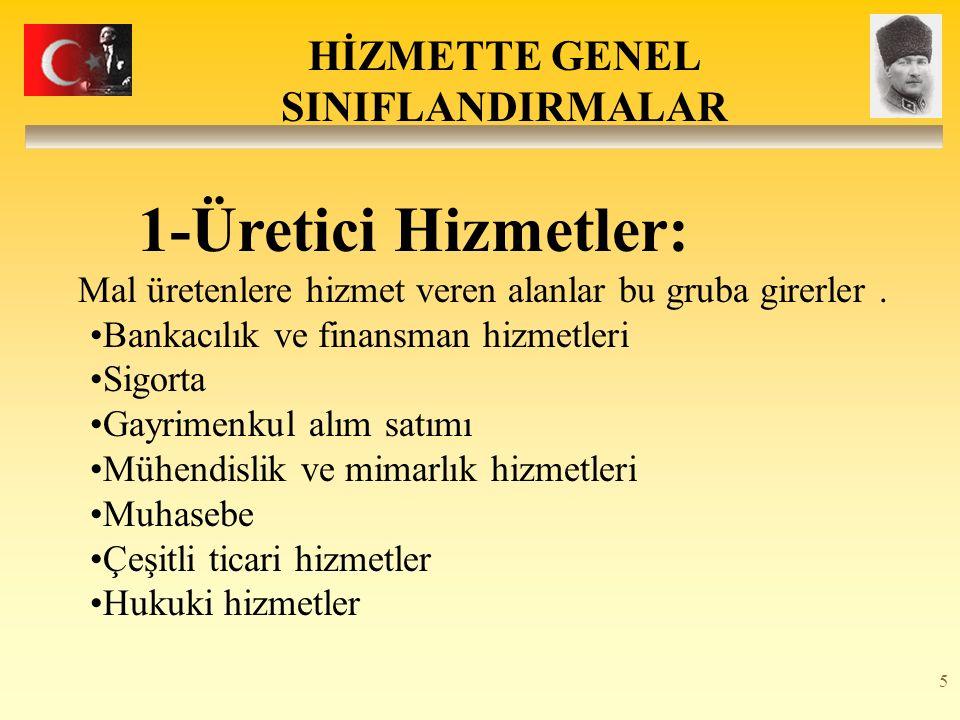 5 HİZMETTE GENEL SINIFLANDIRMALAR 1-Üretici Hizmetler: Mal üretenlere hizmet veren alanlar bu gruba girerler.