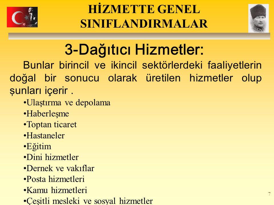 7 3-Dağıtıcı Hizmetler: Bunlar birincil ve ikincil sektörlerdeki faaliyetlerin doğal bir sonucu olarak üretilen hizmetler olup şunları içerir. Ulaştır