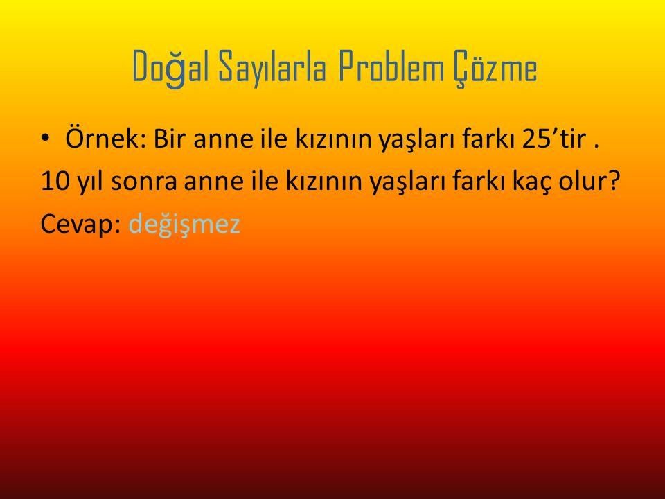 Do ğ al Sayılarla Problem Çözme Örnek: 46-12:2+5x4-15 işlemin sonucu nedir.
