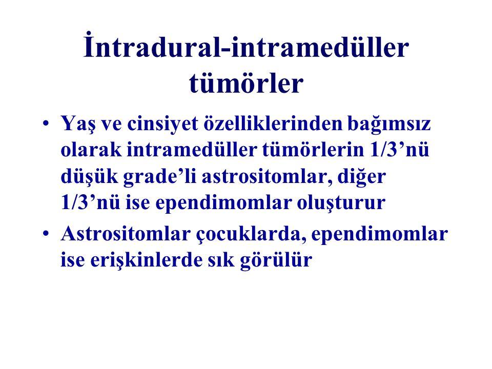 İntradural-intramedüller tümörler Yaş ve cinsiyet özelliklerinden bağımsız olarak intramedüller tümörlerin 1/3'nü düşük grade'li astrositomlar, diğer