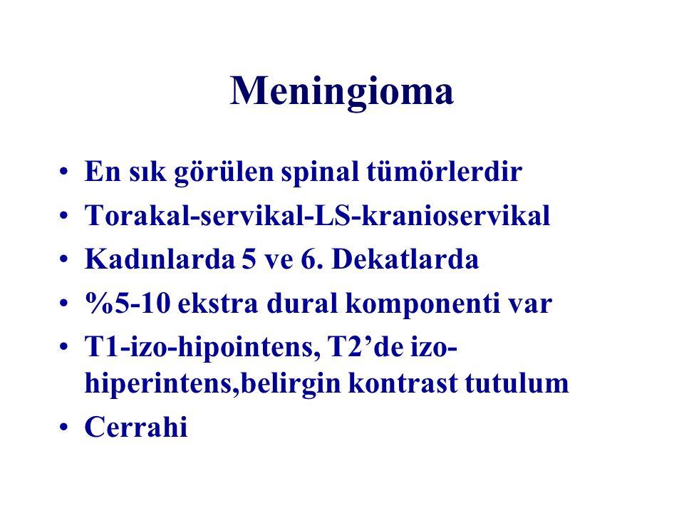 Meningioma En sık görülen spinal tümörlerdir Torakal-servikal-LS-kranioservikal Kadınlarda 5 ve 6. Dekatlarda %5-10 ekstra dural komponenti var T1-izo