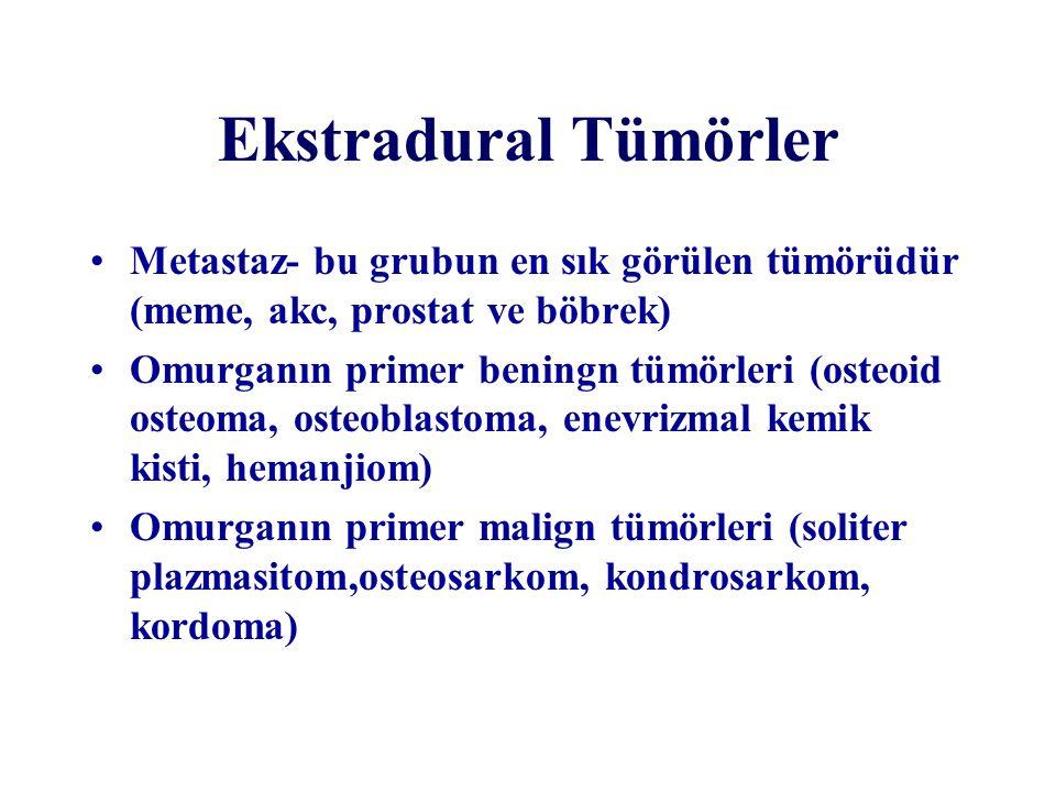Ekstradural Tümörler Metastaz- bu grubun en sık görülen tümörüdür (meme, akc, prostat ve böbrek) Omurganın primer beningn tümörleri (osteoid osteoma,