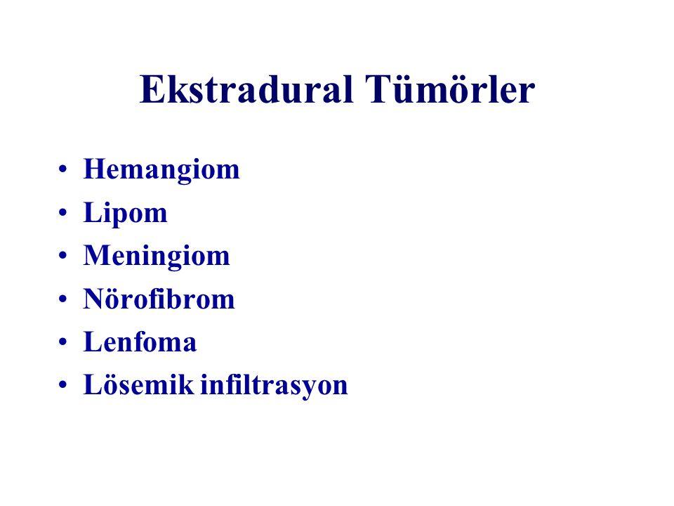 İntradural-intramedüller tümörler Yaş ve cinsiyet özelliklerinden bağımsız olarak intramedüller tümörlerin 1/3'nü düşük grade'li astrositomlar, diğer 1/3'nü ise ependimomlar oluşturur Astrositomlar çocuklarda, ependimomlar ise erişkinlerde sık görülür