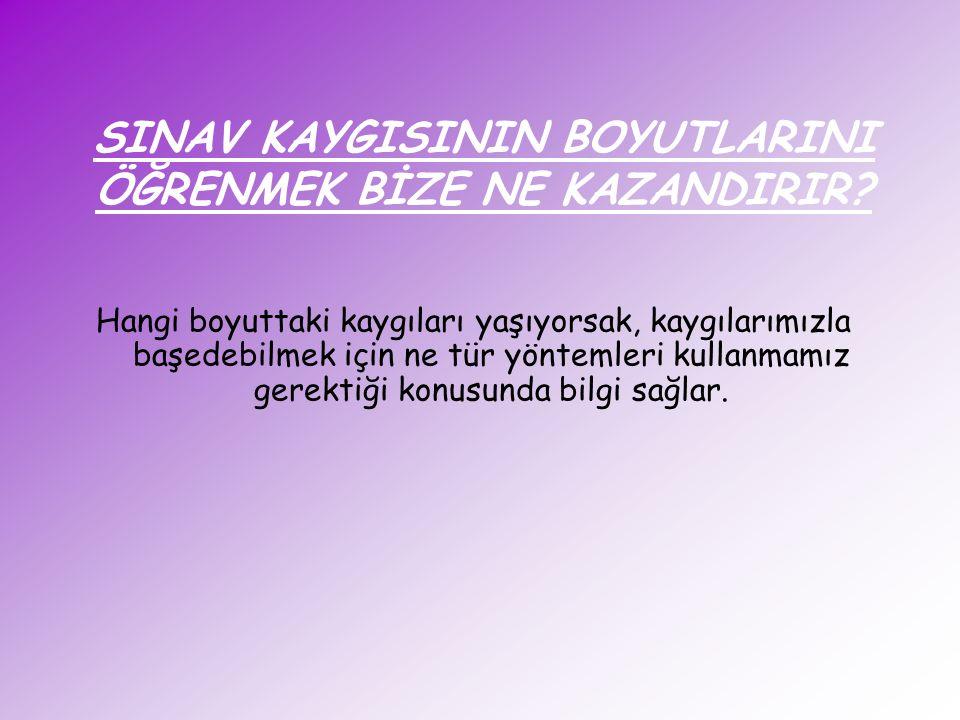 SINAV KAYGISININ BOYUTLARINI ÖĞRENMEK BİZE NE KAZANDIRIR.