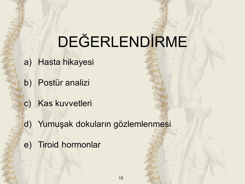 15 a)Hasta hikayesi b)Postür analizi c)Kas kuvvetleri d)Yumuşak dokuların gözlemlenmesi e)Tiroid hormonlar DEĞERLENDİRME