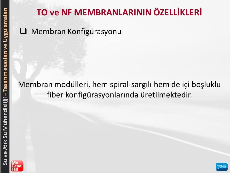 TO ve NF MEMBRANLARININ ÖZELLİKLERİ  Membran Konfigürasyonu Membran modülleri, hem spiral-sargılı hem de içi boşluklu fiber konfigürasyonlarında üretilmektedir.
