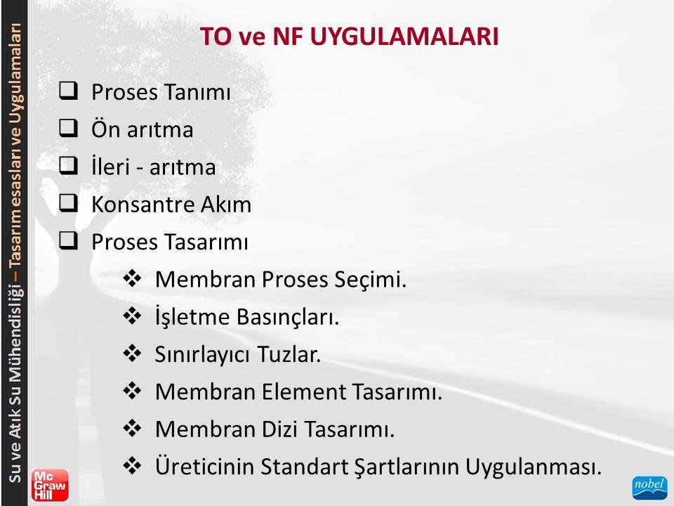 TO ve NF UYGULAMALARI  Proses Tanımı  Ön arıtma  İleri - arıtma  Konsantre Akım  Proses Tasarımı  Membran Proses Seçimi.