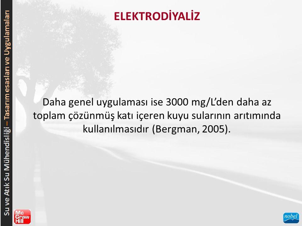 ELEKTRODİYALİZ Daha genel uygulaması ise 3000 mg/L'den daha az toplam çözünmüş katı içeren kuyu sularının arıtımında kullanılmasıdır (Bergman, 2005).