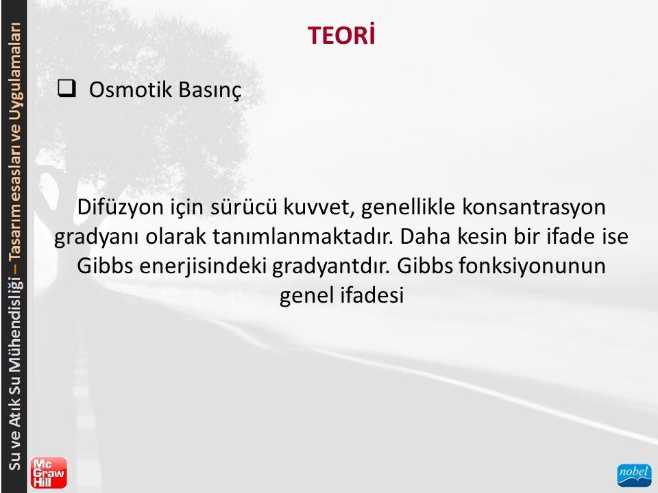TEORİ  Osmotik Basınç Difüzyon için sürücü kuvvet, genellikle konsantrasyon gradyanı olarak tanımlanmaktadır.
