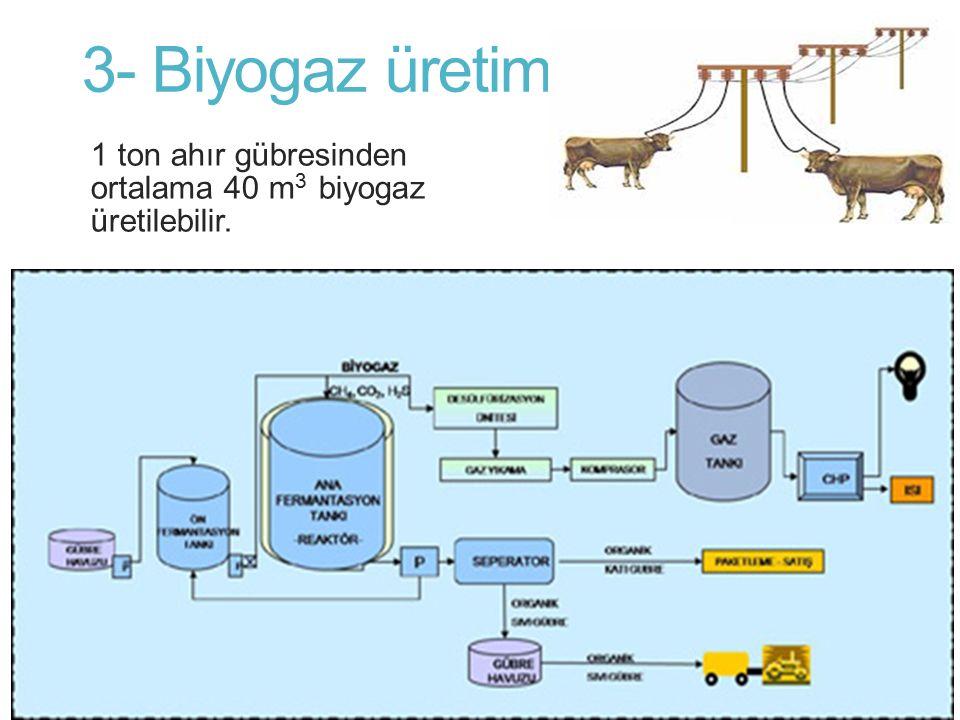 3- Biyogaz üretimi 1 ton ahır gübresinden ortalama 40 m 3 biyogaz üretilebilir.