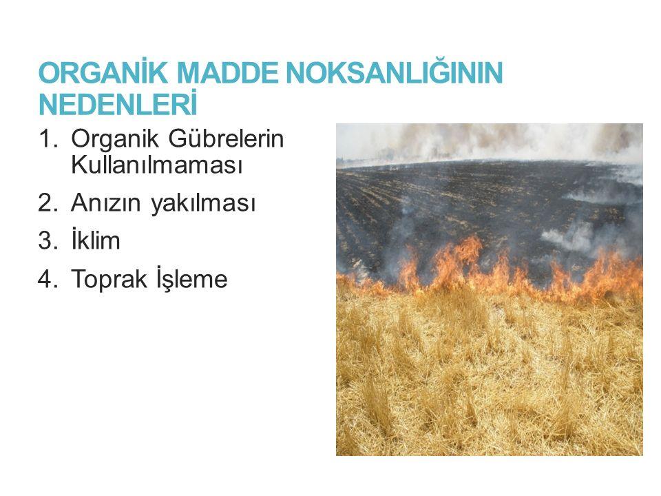ORGANİK MADDE NOKSANLIĞININ NEDENLERİ 1.Organik Gübrelerin Kullanılmaması 2.Anızın yakılması 3.İklim 4.Toprak İşleme 5