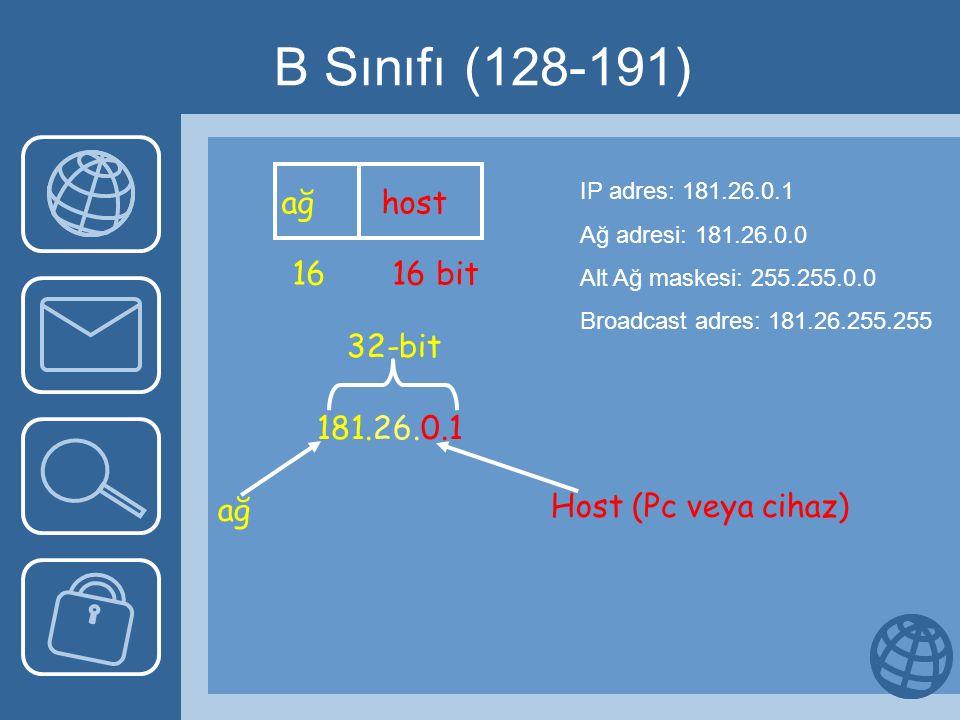 B Sınıfı (128-191) ağ host 16 16 bit 181.26.0.1 ağ 32-bit Host (Pc veya cihaz) IP adres: 181.26.0.1 Ağ adresi: 181.26.0.0 Alt Ağ maskesi: 255.255.0.0