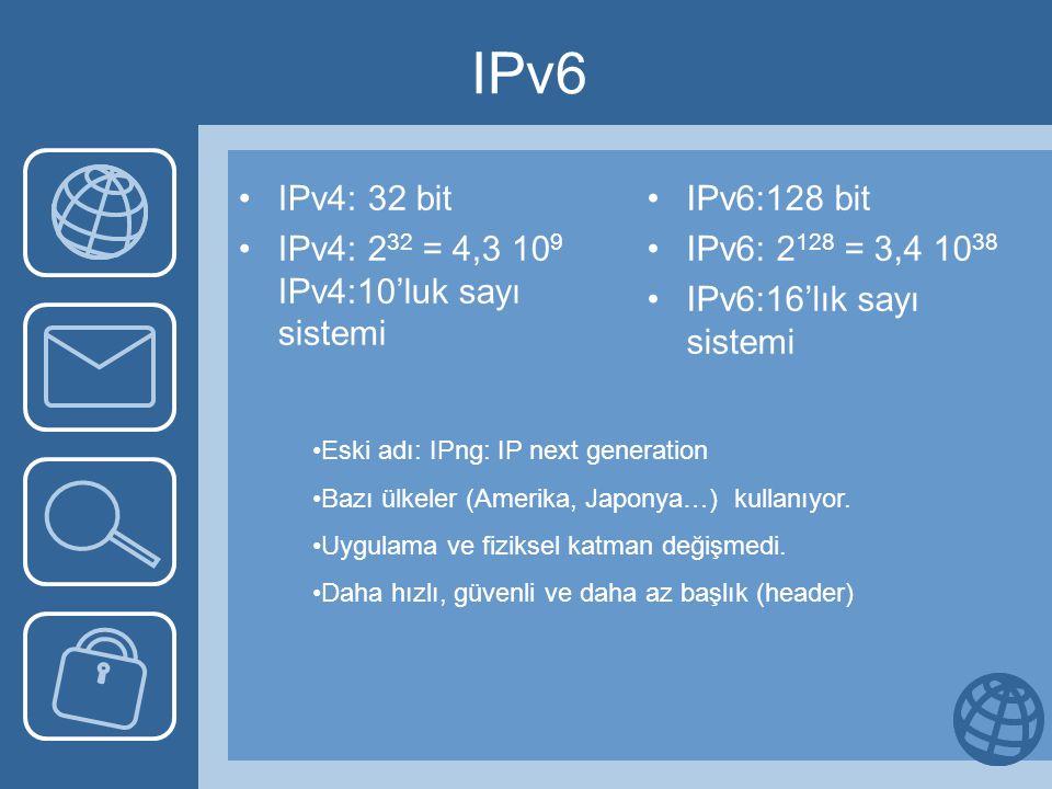 IPv6 IPv4: 32 bit IPv4: 2 32 = 4,3 10 9 IPv4:10'luk sayı sistemi IPv6:128 bit IPv6: 2 128 = 3,4 10 38 IPv6:16'lık sayı sistemi Eski adı: IPng: IP next