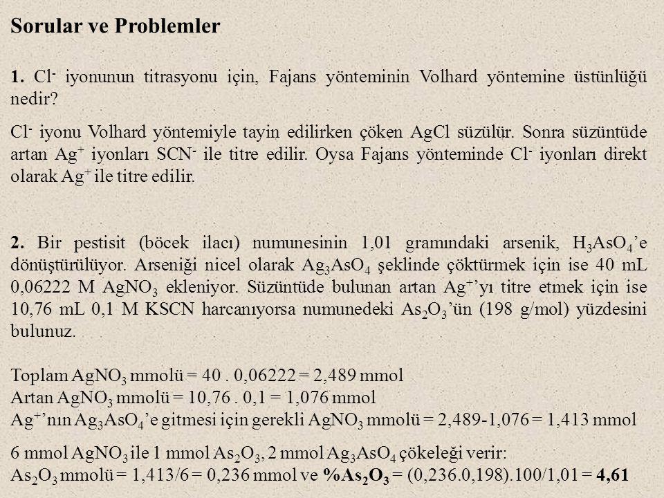 Sorular ve Problemler 1. Cl - iyonunun titrasyonu için, Fajans yönteminin Volhard yöntemine üstünlüğü nedir? Cl - iyonu Volhard yöntemiyle tayin edili