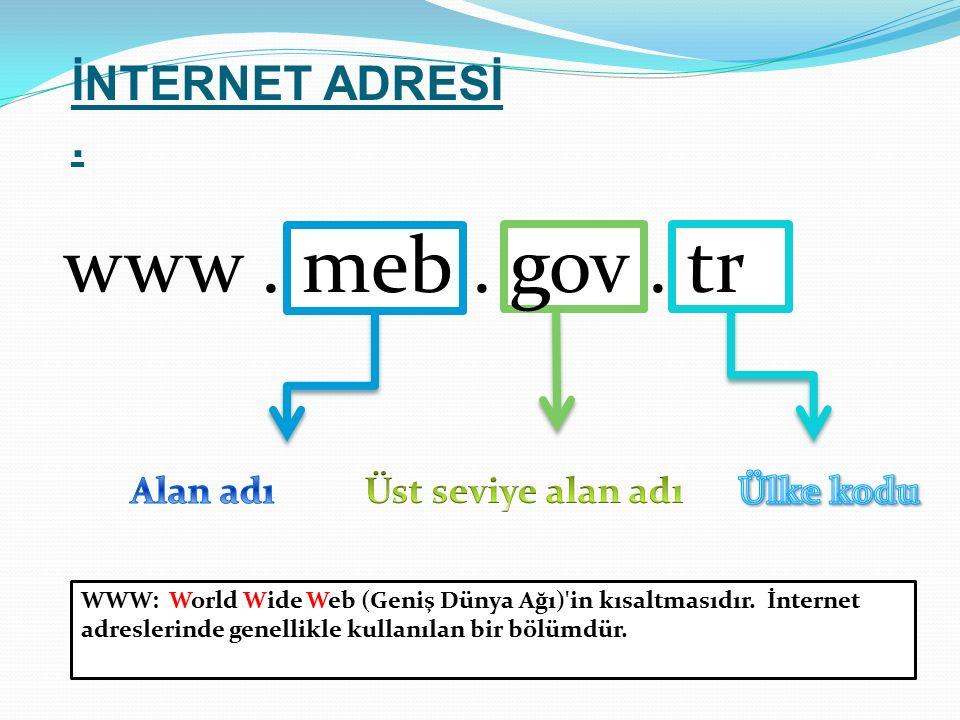 WWW: World Wide Web (Geniş Dünya Ağı)'in kısaltmasıdır. İnternet adreslerinde genellikle kullanılan bir bölümdür.