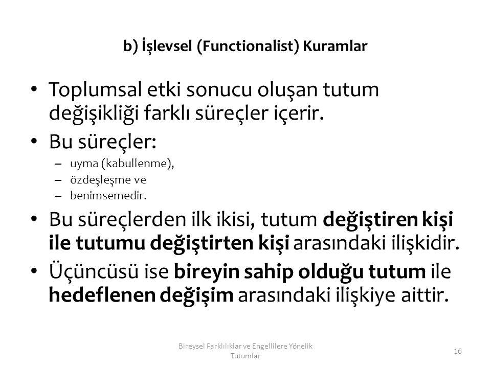 b) İşlevsel (Functionalist) Kuramlar Toplumsal etki sonucu oluşan tutum değişikliği farklı süreçler içerir. Bu süreçler: – uyma (kabullenme), – özdeşl