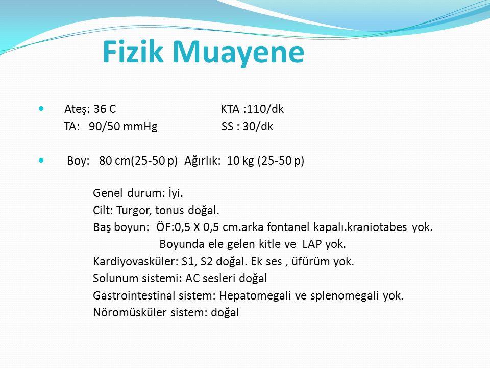 Fizik Muayene Ateş: 36 C KTA :110/dk TA: 90/50 mmHg SS : 30/dk Boy: 80 cm(25-50 p) Ağırlık: 10 kg (25-50 p) Genel durum: İyi.