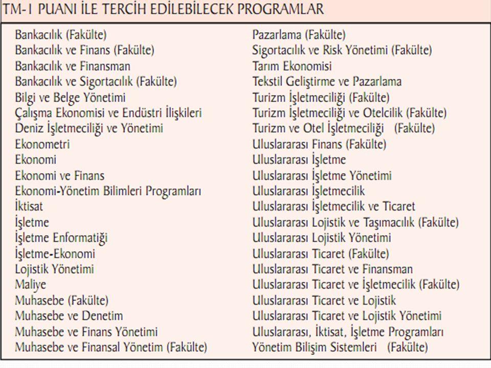 TM-1:Azda olsa matematik ağırlıklı programlar (Bankacılık,iktisat,ekonomi,işletme vb.) TM-2:Matematik ve Türkçe edebiyat eşit ağırlıkta olan (Sınıf öğ
