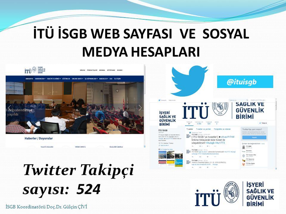 İTÜ İSGB WEB SAYFASI VE SOSYAL MEDYA HESAPLARI İSGB Koordinatörü Doç.Dr. Gülçin ÇİVİ Twitter Takipçi sayısı: 524 @ituisgb