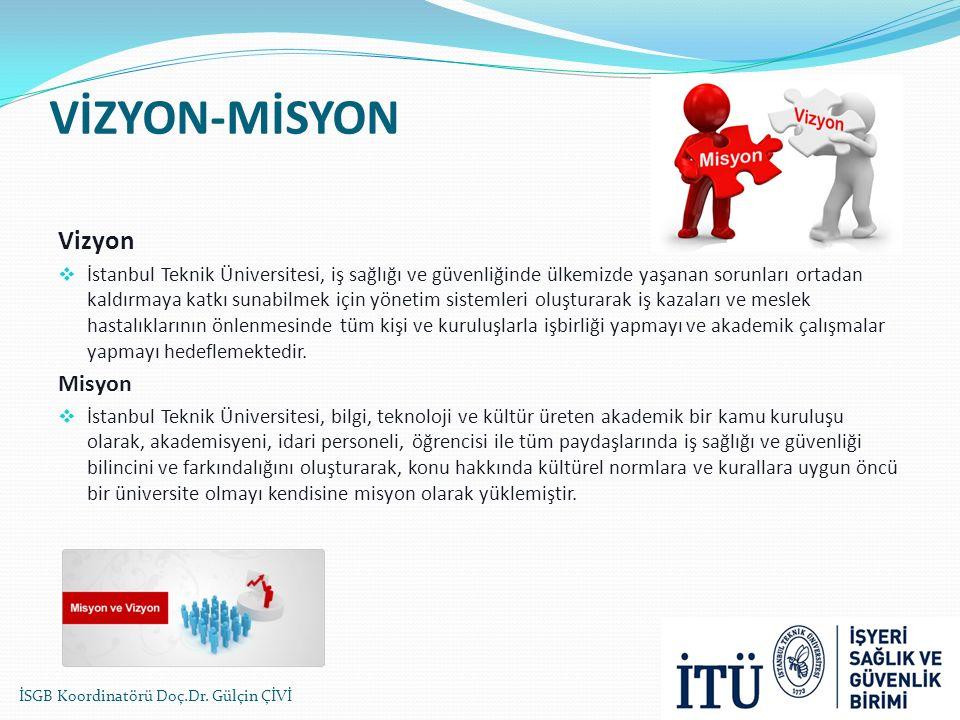 VİZYON-MİSYON Vizyon  İstanbul Teknik Üniversitesi, iş sağlığı ve güvenliğinde ülkemizde yaşanan sorunları ortadan kaldırmaya katkı sunabilmek için yönetim sistemleri oluşturarak iş kazaları ve meslek hastalıklarının önlenmesinde tüm kişi ve kuruluşlarla işbirliği yapmayı ve akademik çalışmalar yapmayı hedeflemektedir.