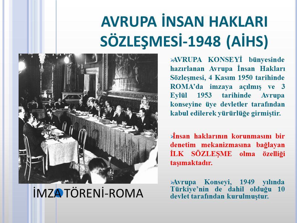 AVRUPA İNSAN HAKLARI SÖZLEŞMESİ-1948 (AİHS)  AVRUPA KONSEYİ bünyesinde hazırlanan Avrupa İnsan Hakları Sözleşmesi, 4 Kasım 1950 tarihinde ROMA'da imz